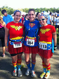 super hero costumes at marathon